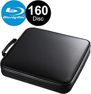 SANWA (Japan Brand 160 Large Capacity CD Case, Portable DVD/VCD Storage, EVA Protective Blu-ray Wallet, Binder, Holder, Booklet with Attached Handle for Car, Home, Office, Travel (Black)