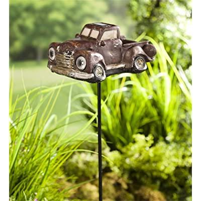 Wind and Weather Solar Antique Pickup Truck with Stake : Garden & Outdoor
