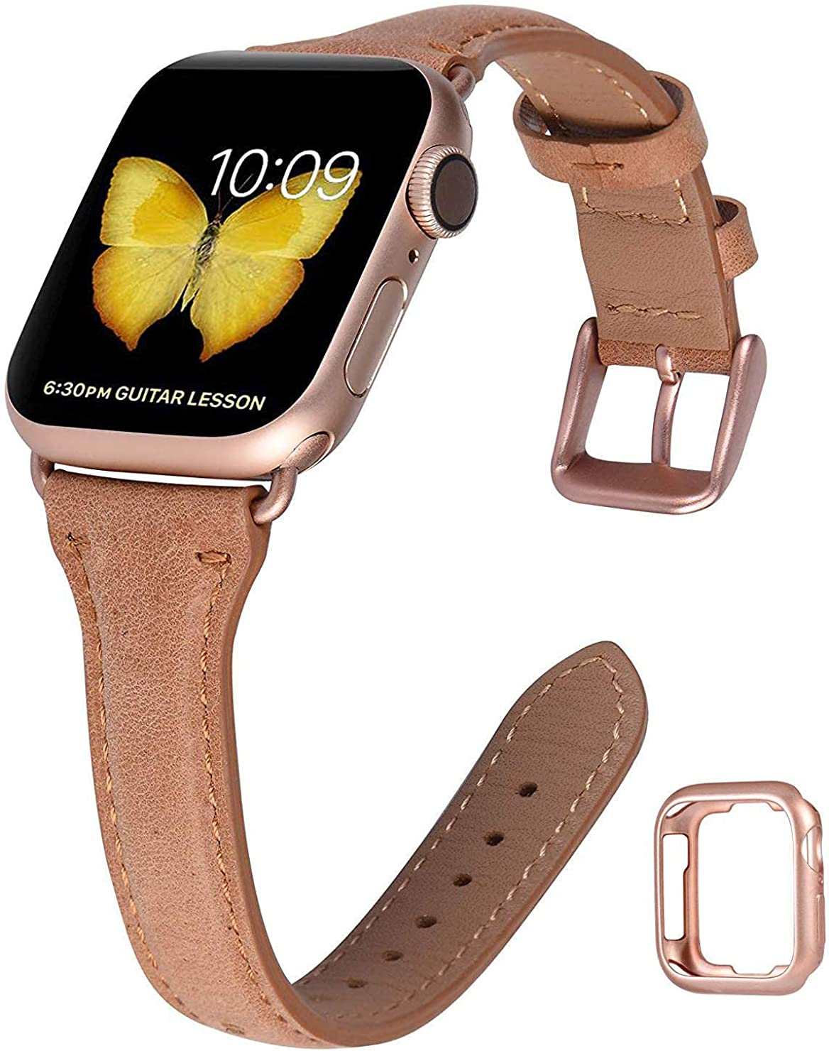 JSGJMY Genuine Leather Band Compatible with Apple Watch 38mm 40mm 42mm 44mm Women Slim Thin Strap for iWatch SE Series 6 5 4 3 2 1
