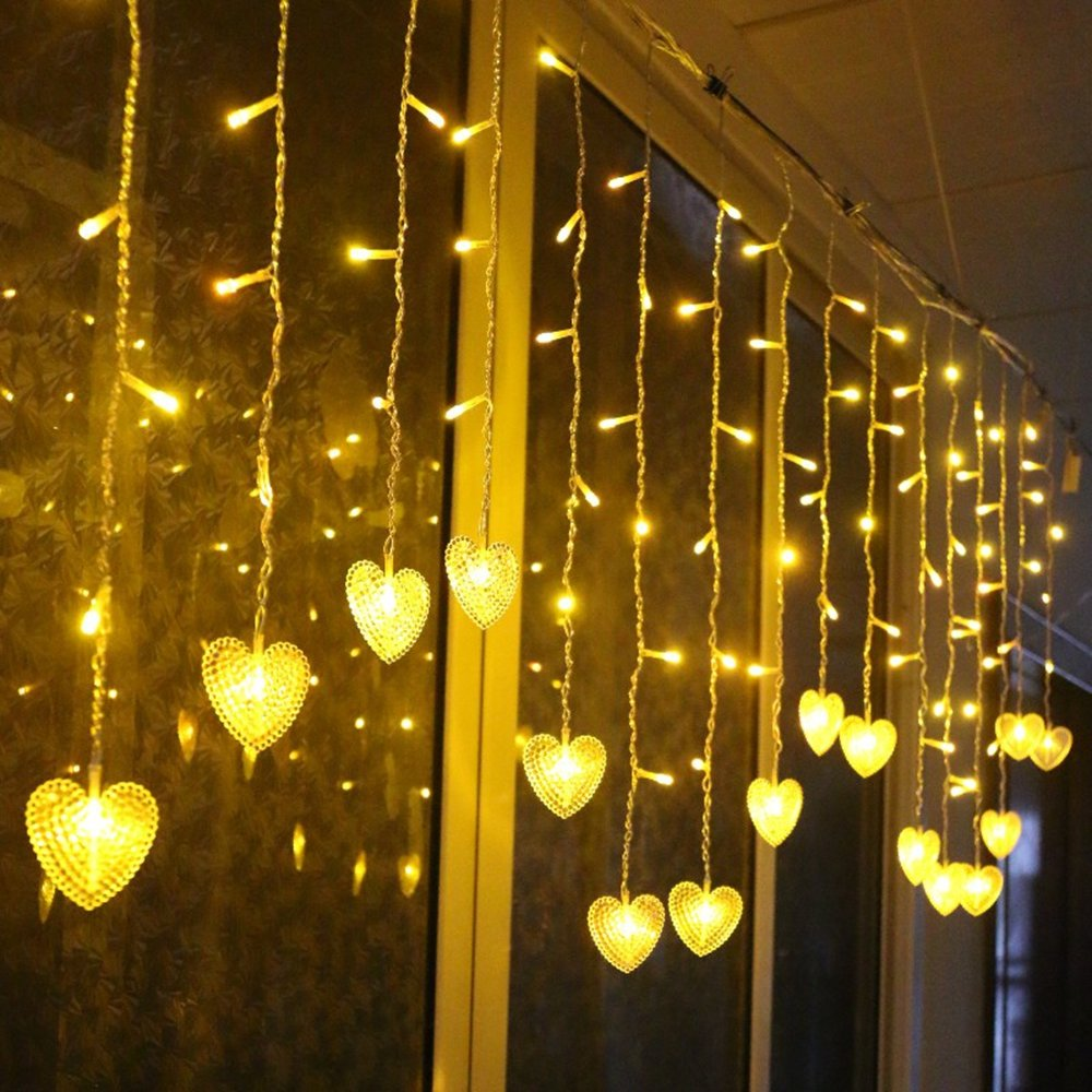 Multi-color 4M 96 LEDS 18P Hearts Love Shape LED String Curtain Light For Christmas Wedding Party Decoration Chandelier Luminarias (Warm white)