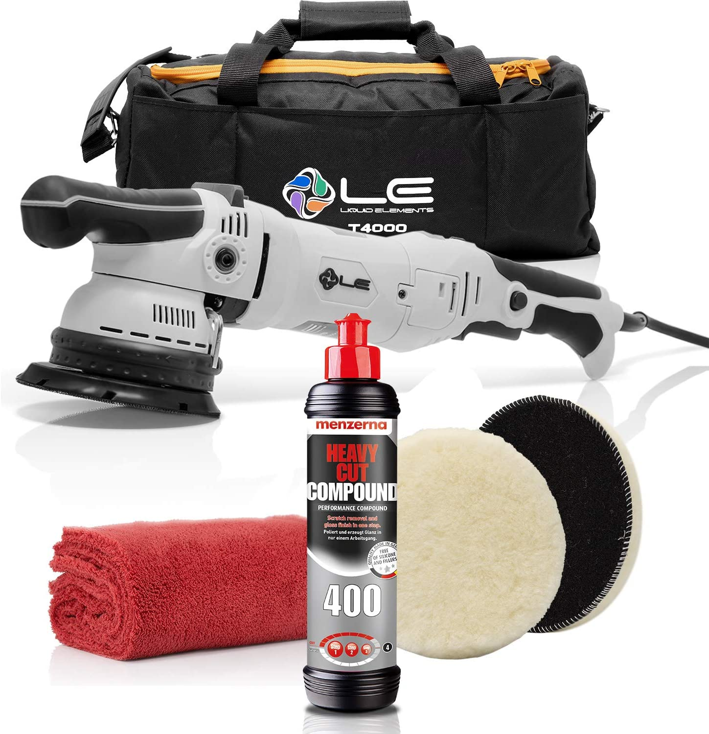 Detailmate Auto Politur Set Liquid Elements T4000 V2 Exzenter Poliermaschine 900 Watt Menzerna Heavy Cut Compound 400 250ml Menzerna Premium Lammfell Pad 150mm Mikrofasertuch 550gsm Auto