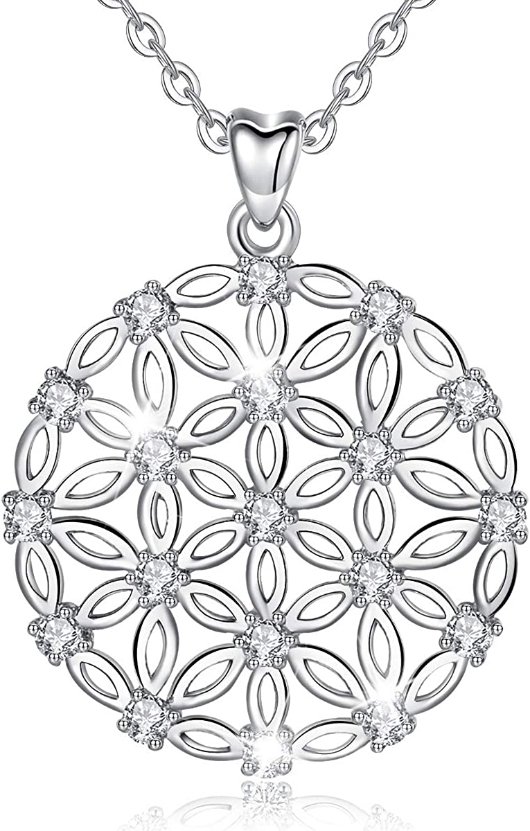 Cubic Zirconia White Handmade Fine Silver Lotus Mandala Necklace Pendant with Clear