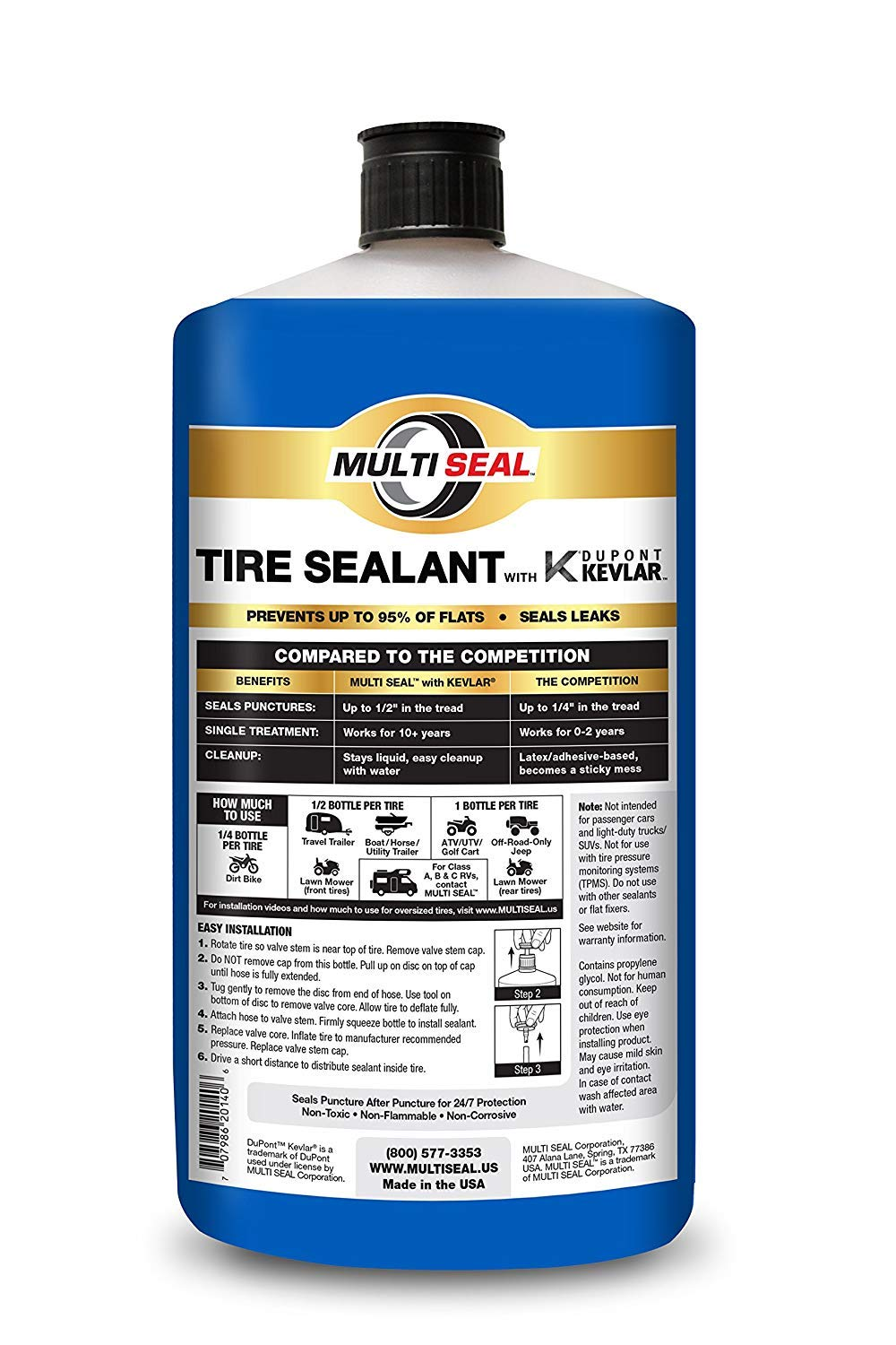 MULTI SEAL 20148 Tire Sealant with Kevlar (RV & Trailer Formula), Great for Travel Trailers, Boat Trailers, Horse Trailers, Toy Haulers, Cargo Trailers, Utility Trailers and more, 8-Pack (256 oz.) by MULTI SEAL (Image #2)