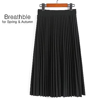 969d281a09 Glugerge Women's High Waist Pleated Solid Color Length Elastic Skirt ...
