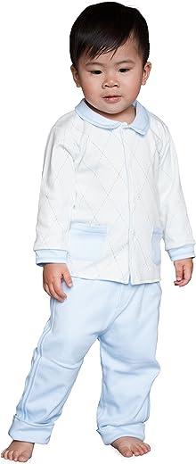 Dakomoda Baby Boys' 100% Pima Cotton Jacket and Pants Set - Blue White