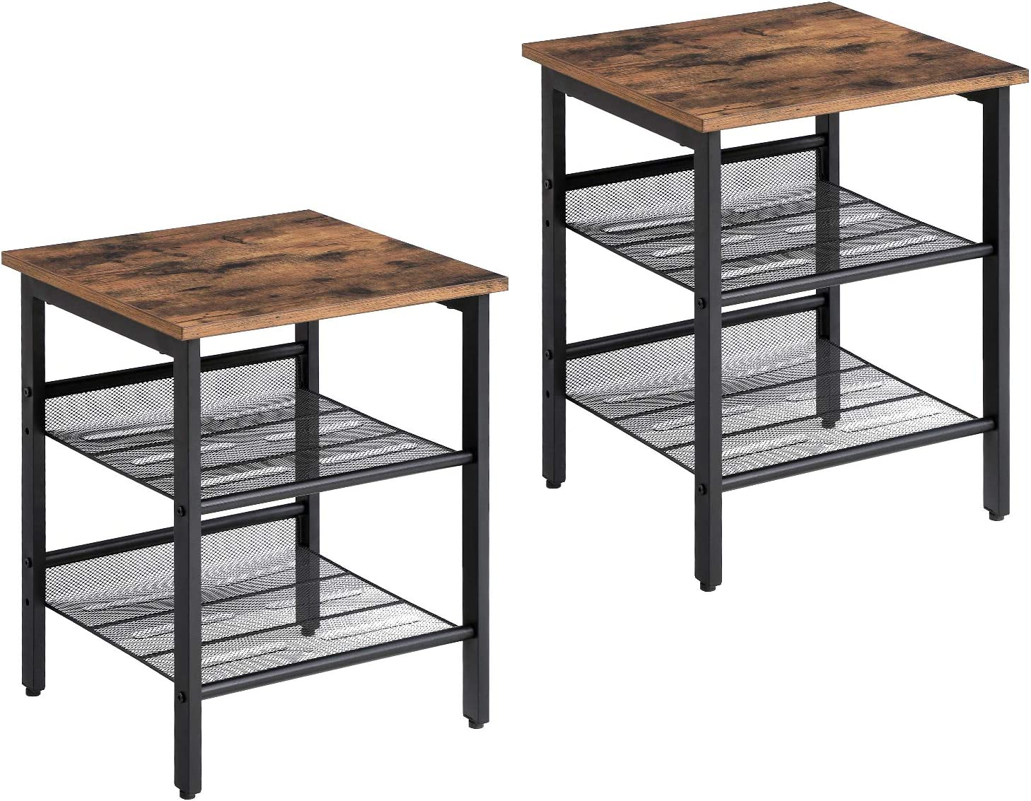 VASAGLE Nightstand, Set of 2 Side Tables, End Tables with Adjustable Mesh Shelves, for Living Room, Bedroom, Industrial, Stable Steel Frame, Easy Assembly, Rustic Brown and Black ULET24X: Kitchen & Dining