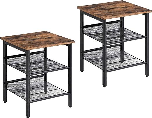 Amazon Com Vasagle Industrial Nightstand Set Of 2 Side Tables