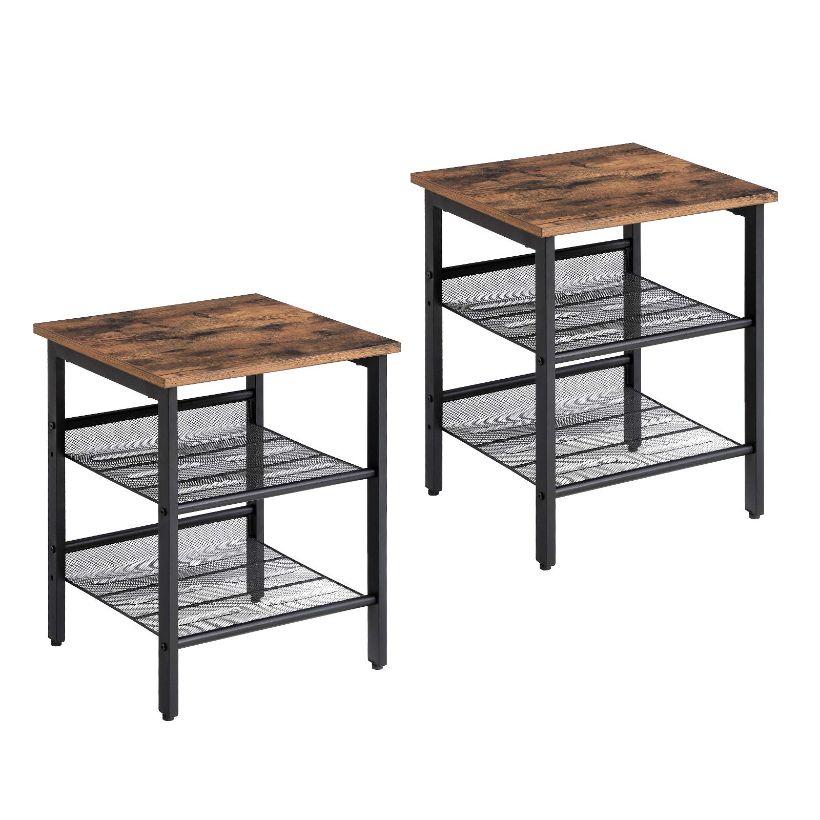 VASAGLE Industrial Nightstand, Set of 2 Side Tables, End Table with Adjustable Mesh Shelves, for Living Room, Bedroom, Stable Metal Frame and Easy Assembly ULET24X by VASAGLE