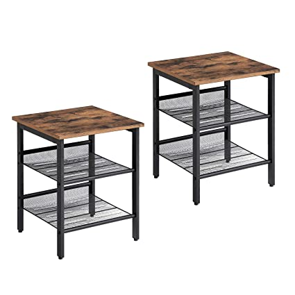 a6f764da0f VASAGLE Industrial Nightstand, Set of 2 Side Tables, End Table with  Adjustable Mesh Shelves