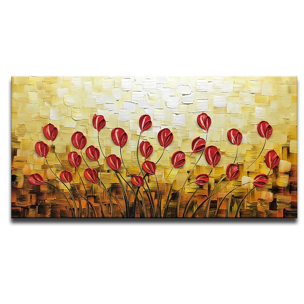 Asdam Art - Red Daisy Oil Paintings on Canvas Red Budding Flowers 100% Hand-Painted Abstract Artwork Floral Wall Art for livingroom Bedroom Dinning Room Decorative Pictures Home Decor(20X40 inch)