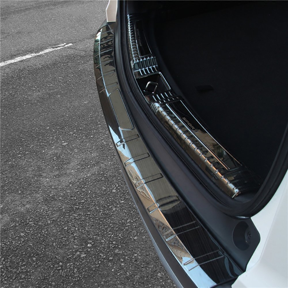 Exterior Trim BeHave hf3791W Car Rear Bumper Guard,Upgrade Auto Rear Door Sill Protector 1 Piece Stainless Steel Trunk Rear Bumper Protector