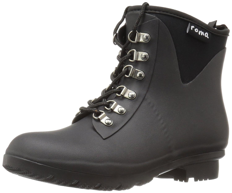 Roma Boots Women's Evol Lace-up Ankle Rain Boots B01L2WNXDU 8 B(M) US|Black