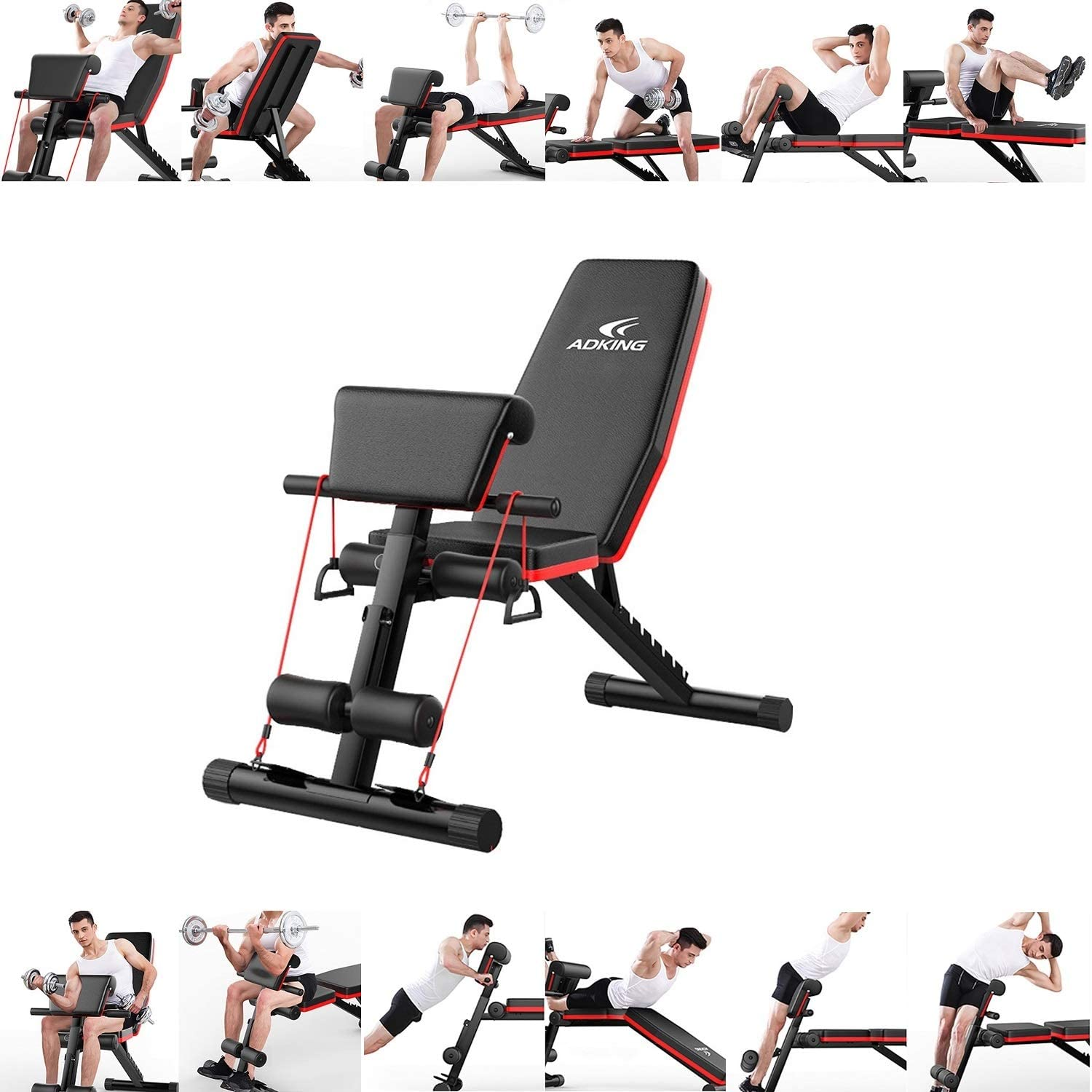 Amazon Com Saqima Multifunctional Home Gym Adjustable Weight Bench Foldable Workout Bench Adjustable Sit Up Ab Incline Abs Bench Flat Fly Press Fitness Rope Weight Press Fitness B Sports Outdoors