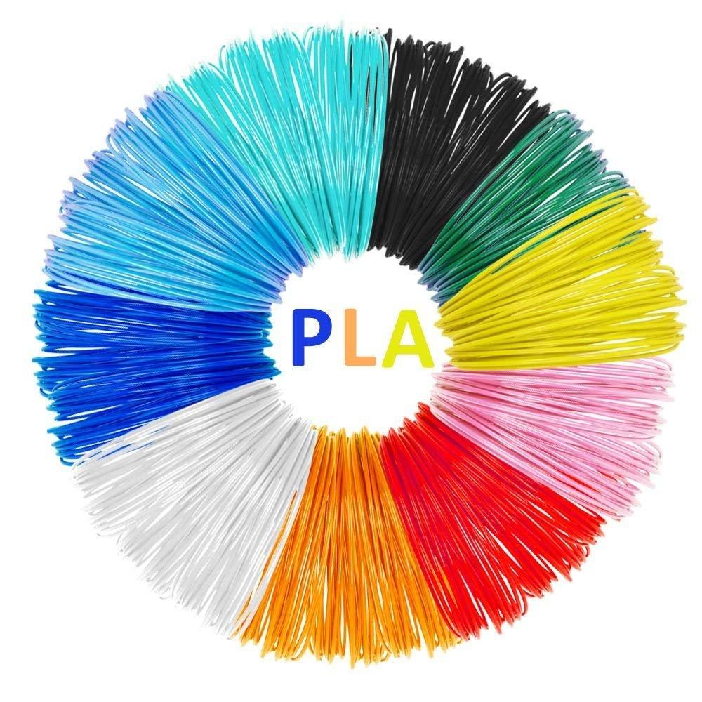 Angker 3D Printing Filament, 3D Pen Screen, 3D Printing Pen, 10 Packs PLA 3D Pen Filament Refills, No Smells and Easy to Peel Off Filament for 3D Printer 10m Length, No Bubbles, 1.75mm, Colourful