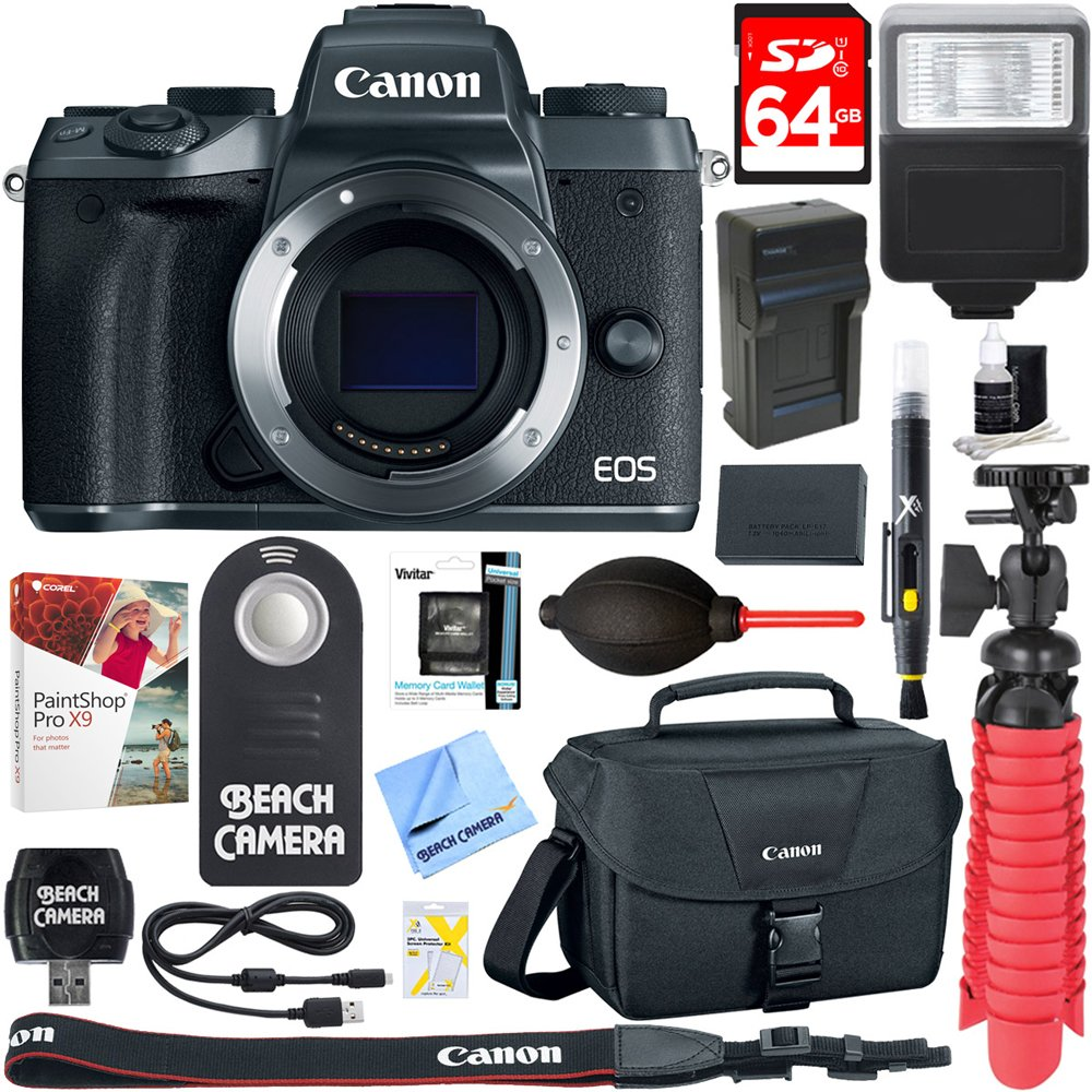 Canon EOS M5 Mirrorless Black Digital Camera Body + 64GB SDXC Memory Card + DSLR Camera Bag + LP-E17 Battery/Charger + Bounce Zoom Slave Flash + Card Reader + Microfiber Cloth + Tripod + More