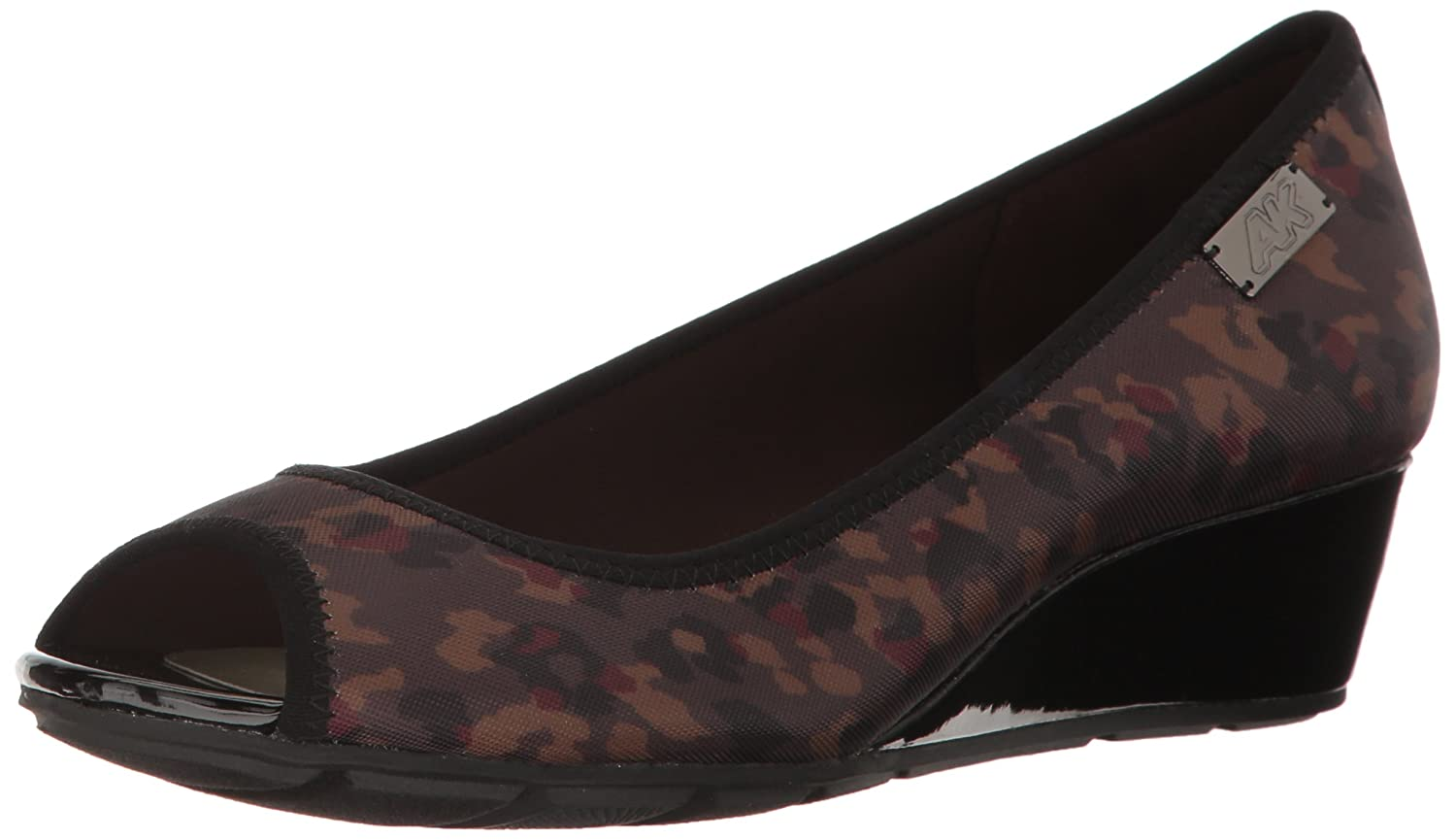 Anne Klein Sport Women's Camrynne Fabric Wedge Pump B01N0Q8YUN 9.5 B(M) US|Dark Brown/Multi Fabric