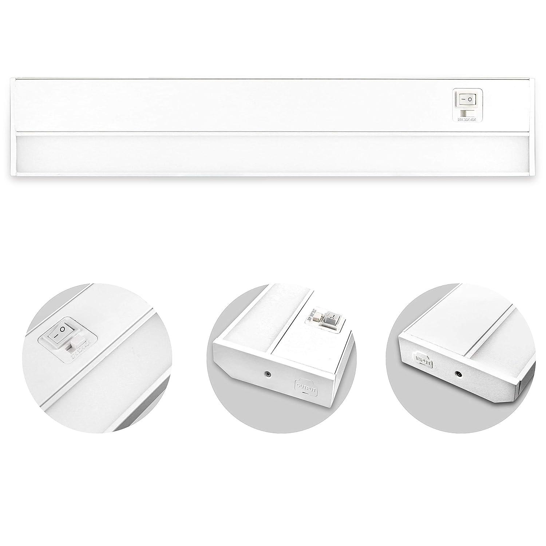 JULLISON 32 Inch LED Under Cabinet Light, Under Counter Light, Plug-In or Hardwired, 120VAC, 16W, CRI90+, 1200 Lumens, 3 Colors Changing, 2700K-3000K-4000K, Linkable, ETL Listed, Damp Location - White