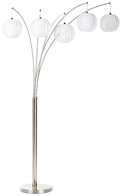 Lite Source LS 8872PS/WHT Deion 5 Lite Arch Lamp, Polished Steel