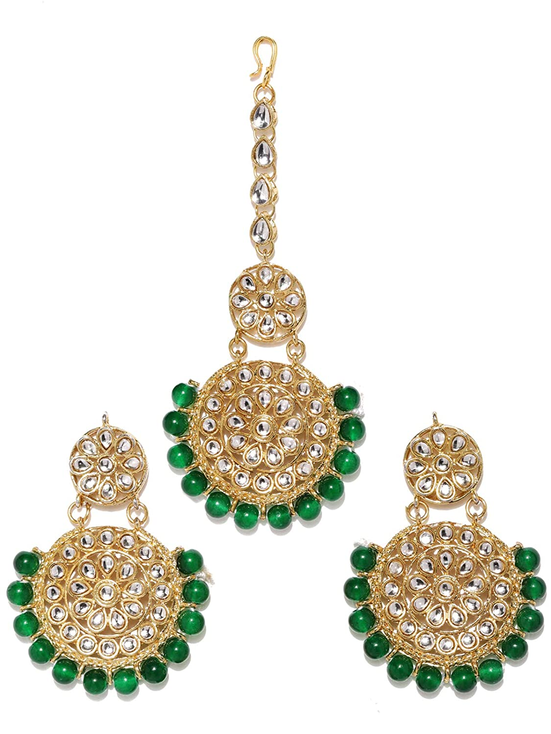 G1 Bollywood Indian Necklace Earrings Tikka Bridal Jewellery Green Beads Set