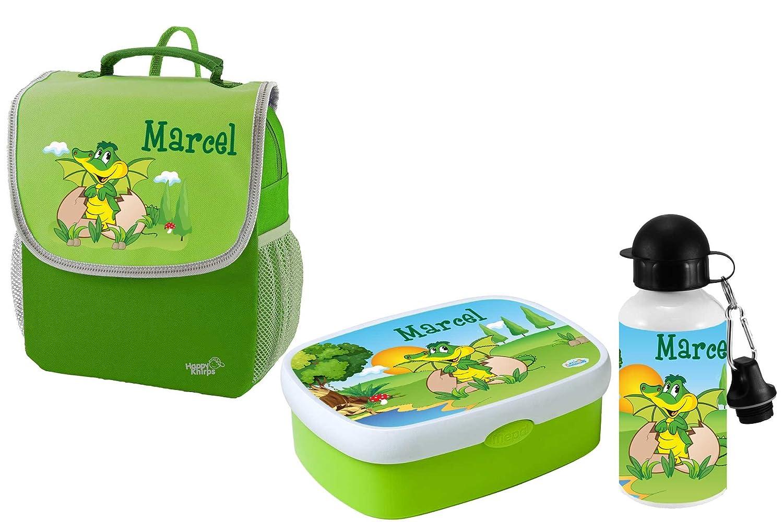 Mein Zwergenland Set 3 Kindergartenrucksack mit Brotdose und Trinkflasche Happy Knirps NEXT Mit Name Dino - 3-teilig