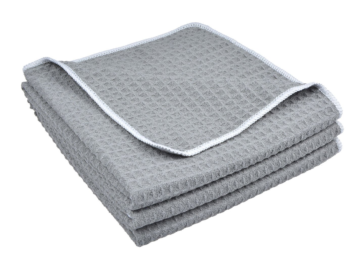 Sinland Microfiber Waffle Weave Kitchen Towels Dish Cloth 3 Pack 16inch X 24inch Grey