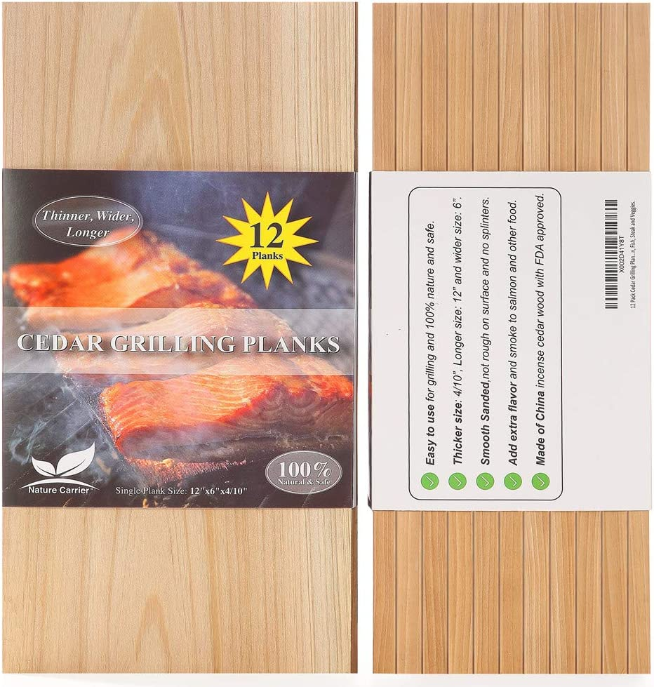 "12 Pack Cedar Grilling Planks with Larger Size: 6""x12""x0.4. Add Extra Flavor and Smoke - FDA Approved BBQ Aromatic Wood Cedar Planks for Grilling Salmon, Fish, Steak and Veggies."