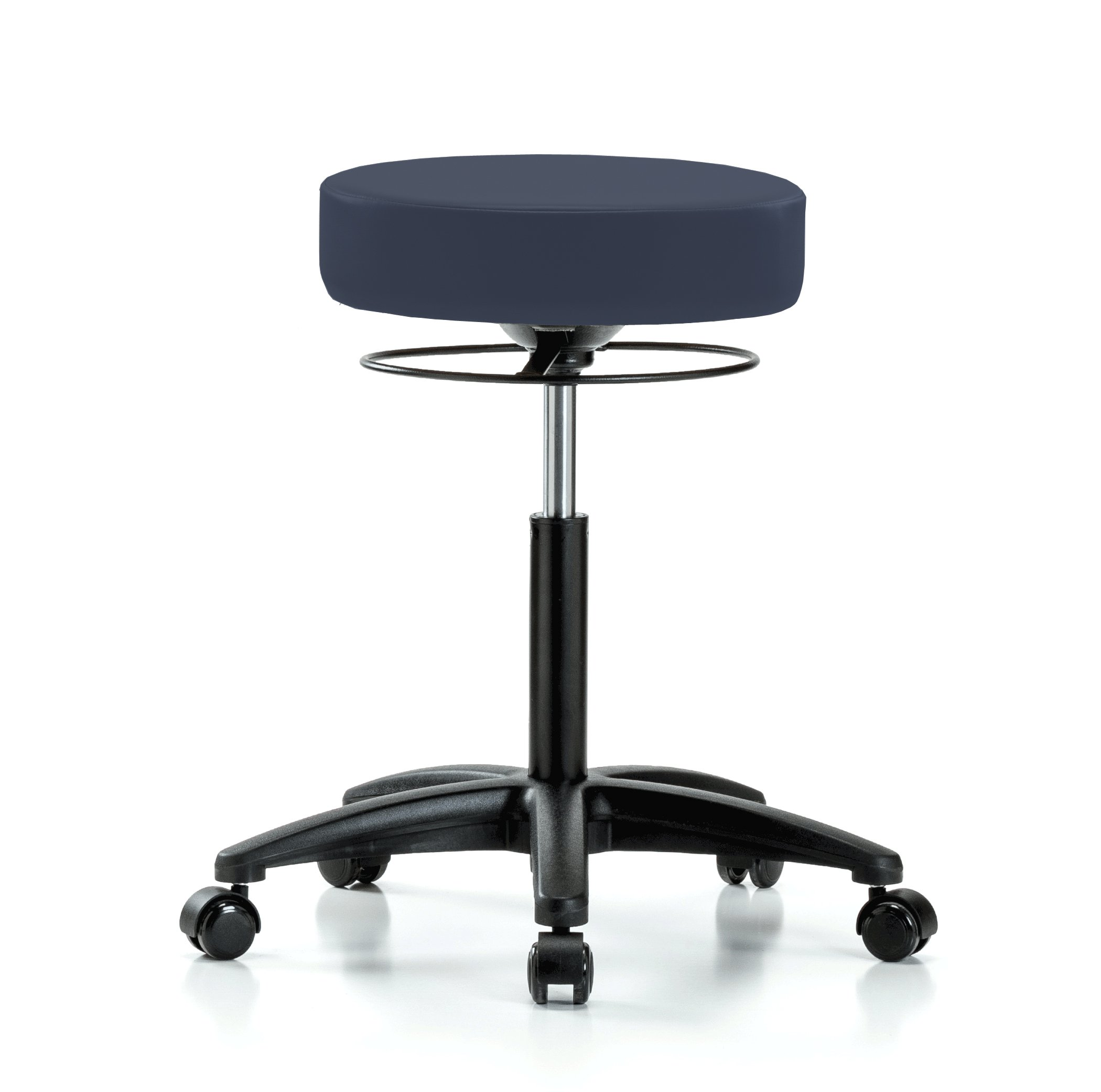 Perch Stella Rolling Adjustable Stool Medical Salon Spa Massage Tattoo Office 21'' - 28.5'' (Stationary Caps/Imperial Blue Vinyl)