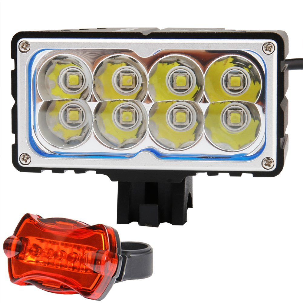 6 Cell x Samsung 18650 Lithium Battery 6x2200mAh Battery Pack with Waterproof Box - Free 5 Led Taillight VICMAX A8 7200 Lumens 8Pcs x Cree XM-L2 U2 Led Bicycle Light