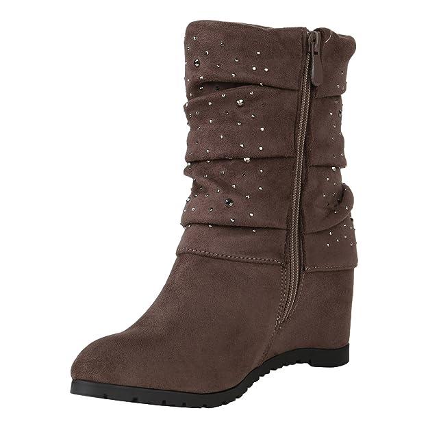 Stiefelparadies Damen Keilstiefeletten Leicht gefüttert Flandell  Amazon.de   Schuhe   Handtaschen 6f565952e8