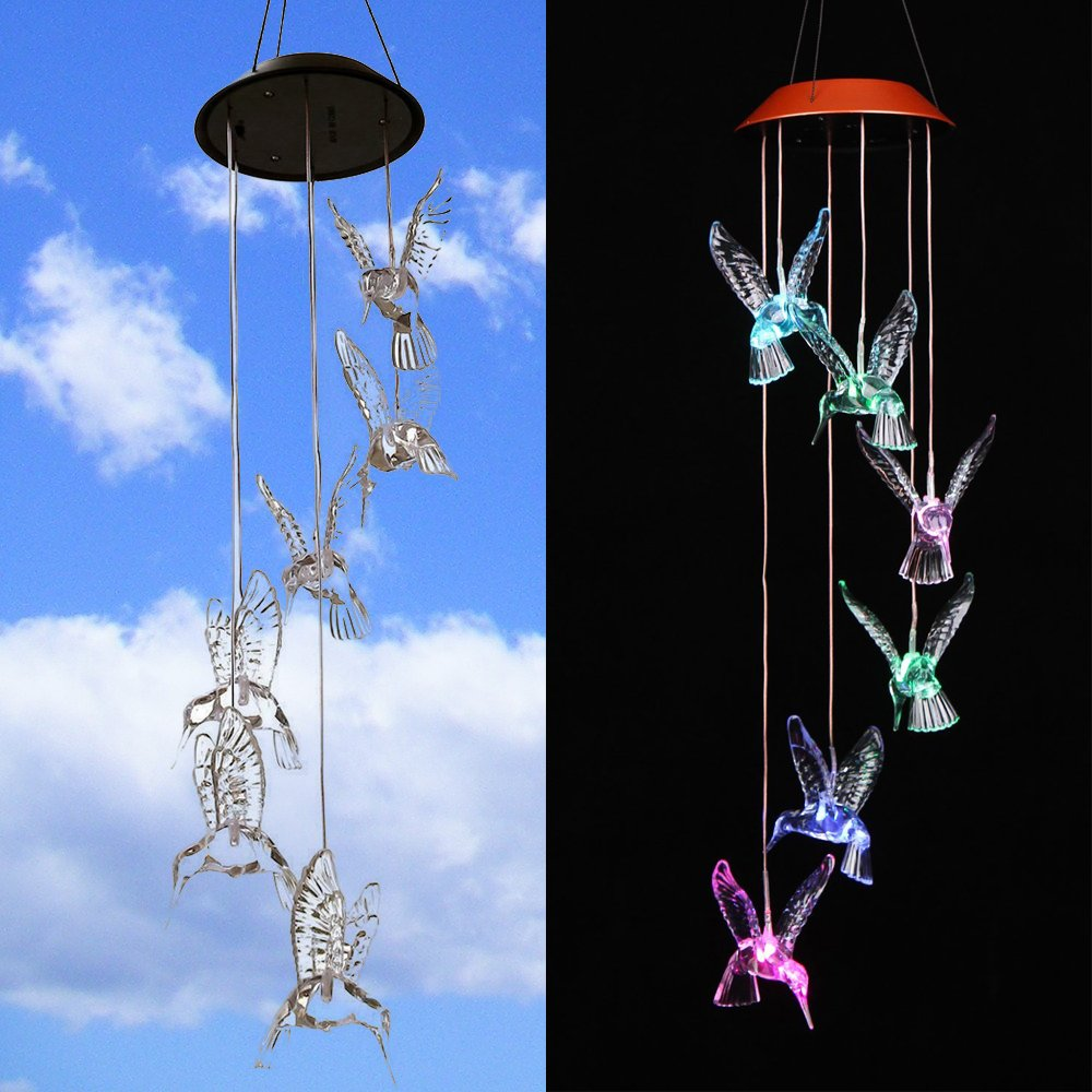 NiceCo Solar Changing Color Hummingbird Wind Chime, Solar Powered LED Hanging Lamp Windchime Light for Outdoor Indoor Gardening Yard Pathway by NiceCo (Image #1)