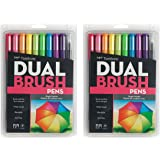 Tombow Dual Brush Pen Art Markers JmjJu, 2Pack Bright Brush Pens