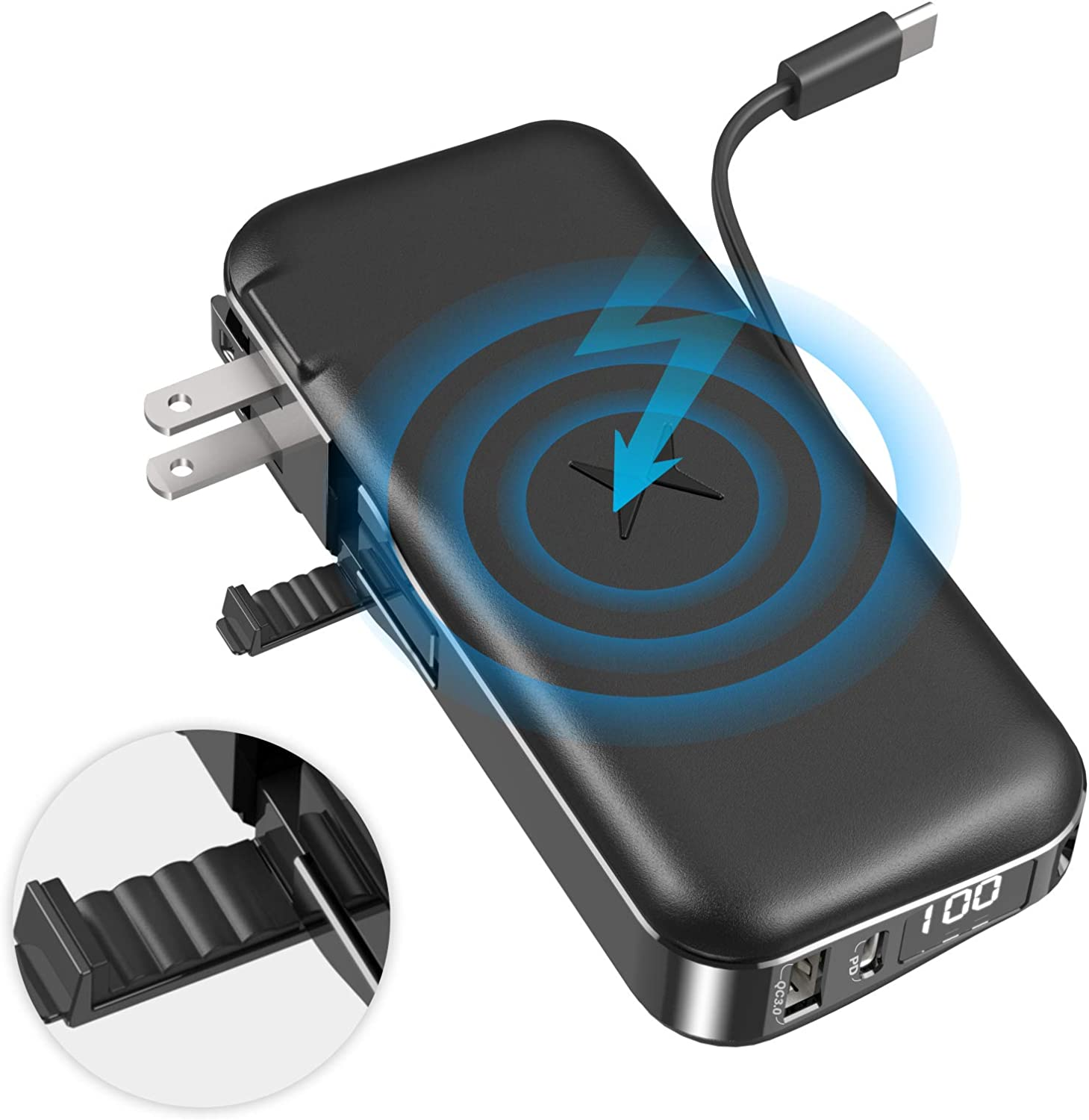 Dual Wireless Charger & Power Bank for Phone, Laptop – Compact & Portable Fast Charging Battery Charger for iPhone, iPad, Samsung Galaxy – Car & Travel Charging for Android & Apple