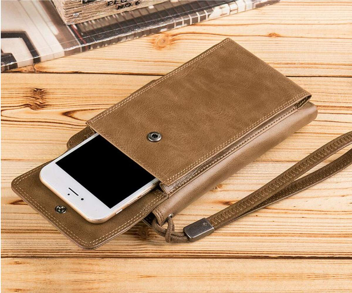 Size 16.5 2 1 0 Khaki cm Stealth Mode Blocking Leath Multi-Card Large Capacity Multi-Function Carrying Business Casual Leather Clutch Color Kalmar RFID Travel Wallet Suitable for Mens Long