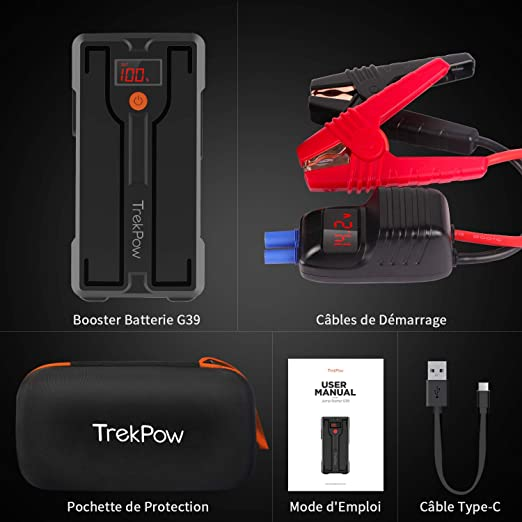 Trekpow G39 Booster Batterie Jump Starter 1200 A Tragbarer Auto Starter 6 5 L Benzin 5 5 L Diesel Booster Für Auto Und Motorrad Mit Lcd Display 4 Ladeanschlüsse Led Lampe Ce Zertifiziert Auto