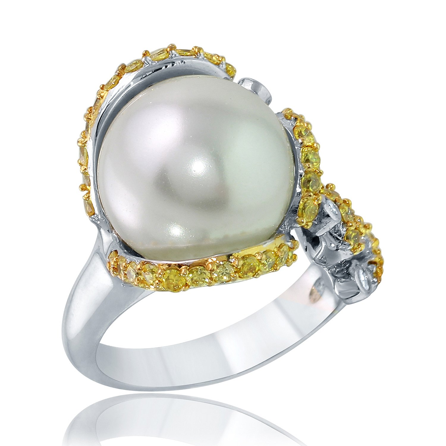 Rhodium Plate and Gold Plate Silver Glass Simulated Pearl Cz Ring-8