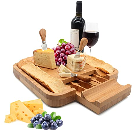 Amazon.com: esup bambú Tabla para quesos con integrado cajón ...