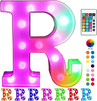 Pooqla Colorful LED Marquee Letter Lights with Remote – Light Up Marquee Signs – Party Bar Letters with Lights Decorations for The Home - Multicolor R