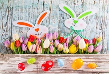 Easter 10x7ft Vinyl Photography Background Cute Artifact Easter Bunnies Eggs Small Blackboard Crackled Wooden Wall Backdrop Community Easter Egg Hunt Day Banner Wallpaper Studio Props