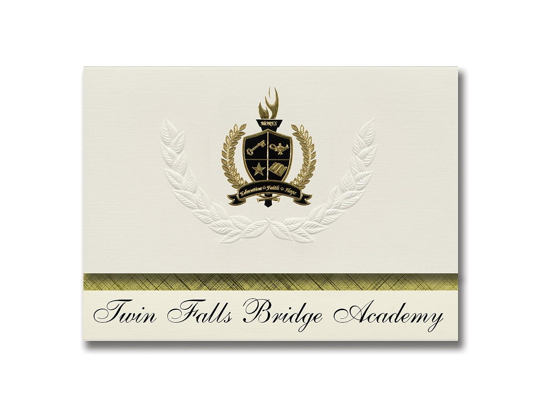Signature Announcements Twin Falls Bridge Academy (Twin Falls, ID) Abschlussankündigungen, Präsidential-Stil, Grundpaket mit 25 Goldfarbenen und schwarzen metallischen Folienversiegelungen
