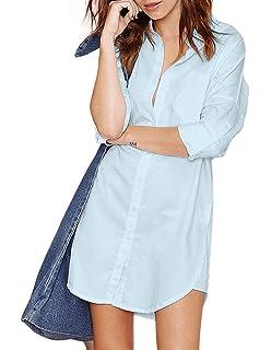 17b61748937c5b L E M O N Richlulu Womens Boyfriend Button Down Casual Frock Longline Shirt  Dress