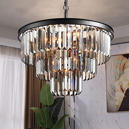 TZOE Luxury Black Smoke Crystal Modern Contemporary Chandeliers Pendant Ceiling Light Fixture 3-Tier Chandelier Lighting