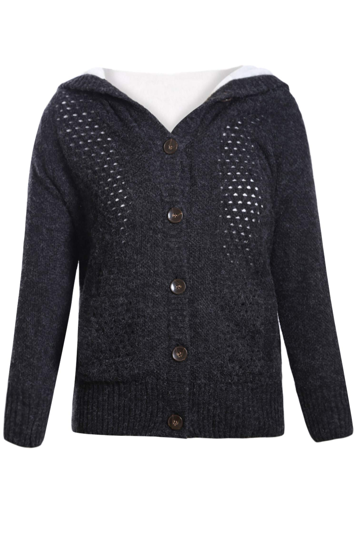 Blibea Womens Casual Long Sleeve Hooded Knit Cardigans Button Down Cable Sweater Coats with Pockets Small Black