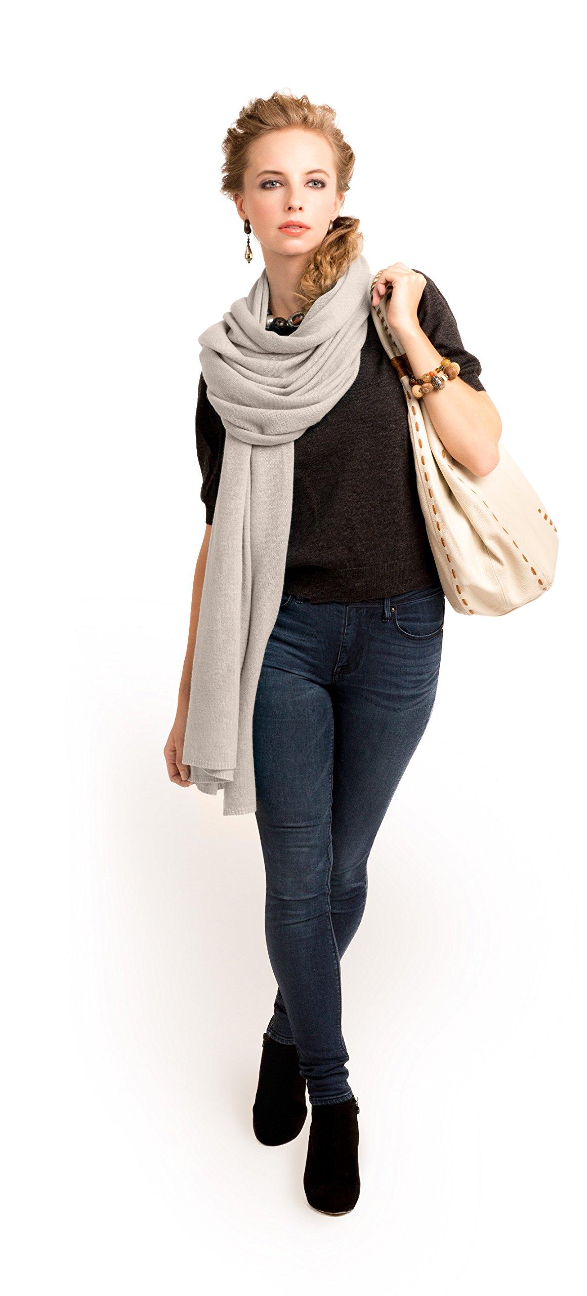 Super Soft Oversized 100% Cashmere Travel Blanket Scarf Wrap - Light Latte
