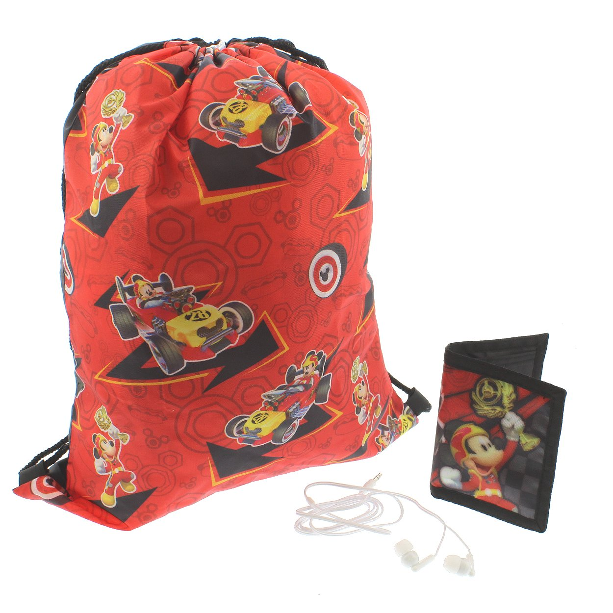 Mickey Mouse Boys Drawstring Backpack Headphones and Wallet Boxed Gift Set (Mickey Black/Red)
