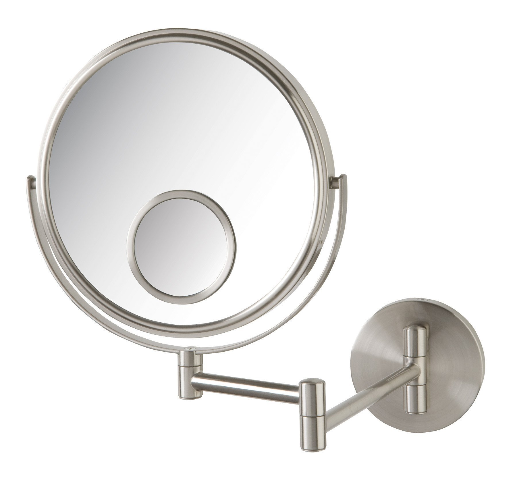 Jerdon JP7510N Wall Mount Makeup Mirror with 10x and 15x Magnification, Nickel Finish, 8'' by Jerdon