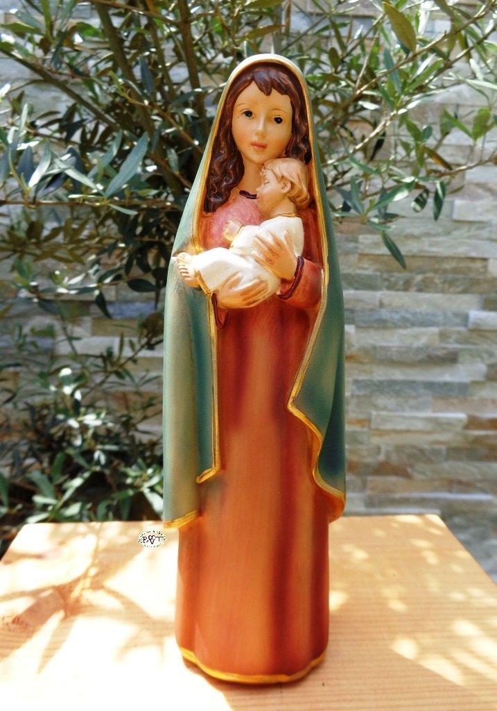 ÖLBAUM - Figura de Virgen María con niño Jesús (pintada a mano, 20-21 cm): Amazon.es: Hogar