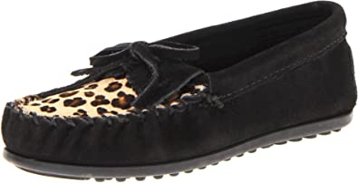 Minnetonka Leopard Kilty Moc (Toddler/Little Kid/Big Kid),Black,7 M US Toddler