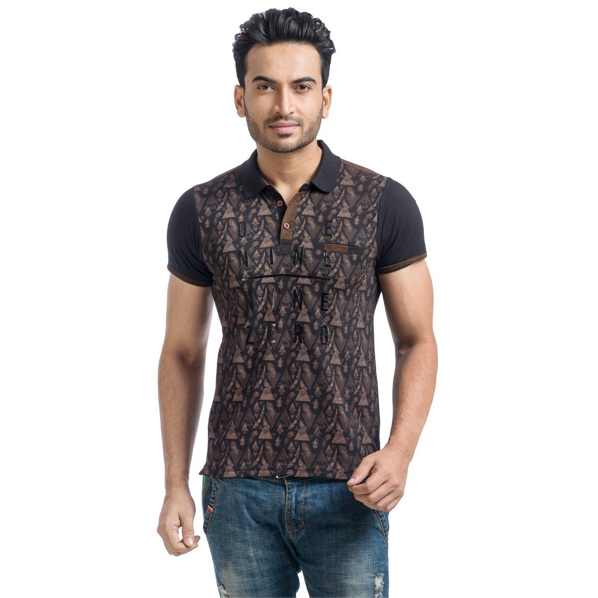 b57043db5d0d91 MABYN Polo Neck T-Shirt for Men or Women Multi-Color Brown  Amazon.in   Clothing   Accessories