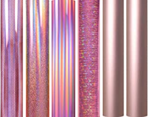 JH BEST CRAFTS Holographic Rose Gold Vinyl 12'' x 12'' Permanent Craft Adhesive Vinyl Sheets for Home Decor, Wall Decal, Logo, Banners, Car Exteriors, Sign Plotters (6 Rose Gold + 2 Transfer)