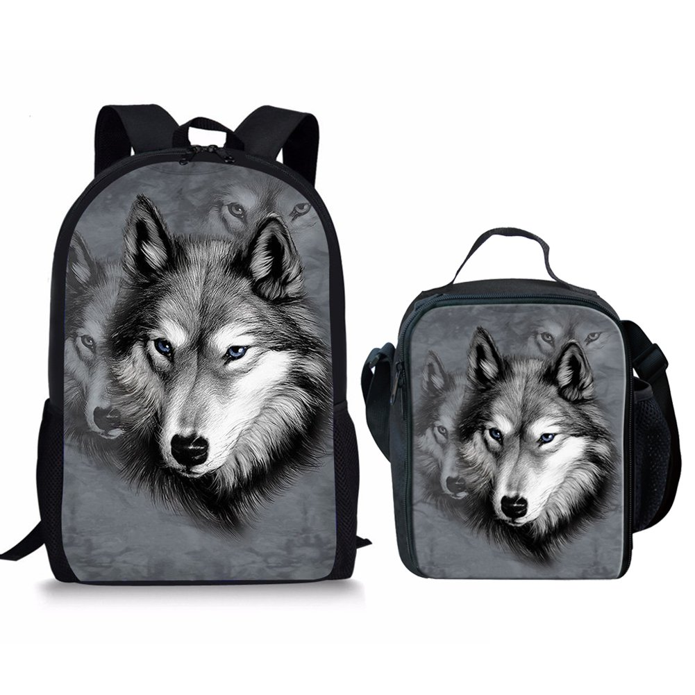 127b57b882d8 Showudesigns Wolf Grey School Backpack with Side Pocket Outdoor Sport Lunch  Bag Box